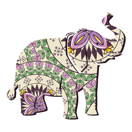 Colorful elephant with mandala pattern vector illustration design Illustration