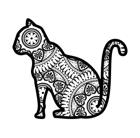 monochrome cat with mandala pattern vector illustration design Banco de Imagens - 99559697
