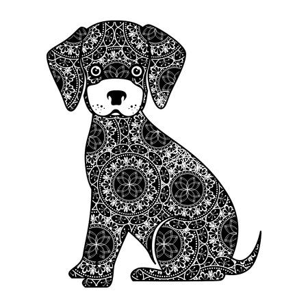 monochrome dog with mandala pattern vector illustration design
