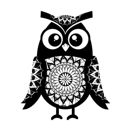 monochrome owl bird with mandala pattern vector illustration design  イラスト・ベクター素材