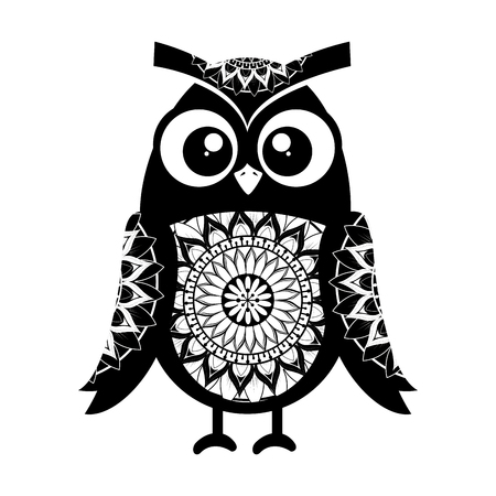 monochrome owl bird with mandala pattern vector illustration design Ilustração
