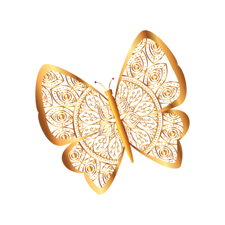 golden butterfly flying with mandala pattern vector illustration design