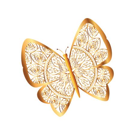 golden butterfly flying with mandala pattern vector illustration design