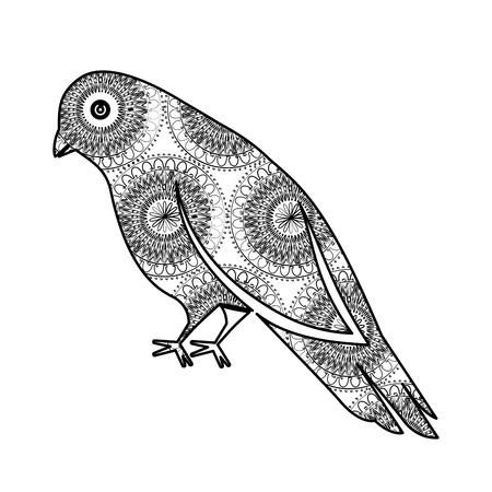 monochrome bird with mandala pattern vector illustration design