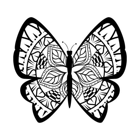 monochrome butterfly flying with mandala pattern vector illustration design