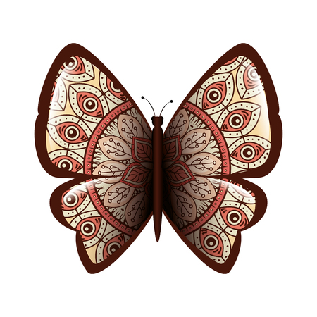 colorful butterfly flying with mandala pattern vector illustration design Imagens - 99953931