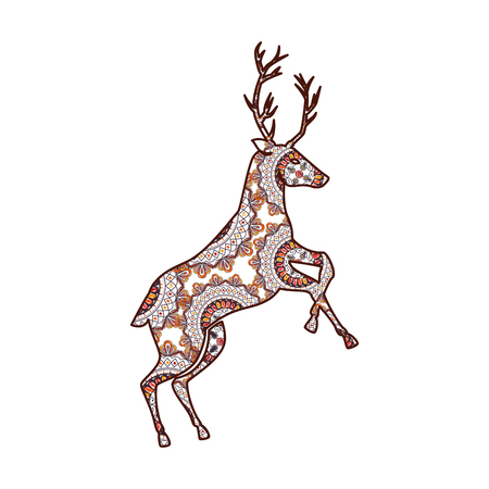 reindeer with mandala pattern vector illustration design