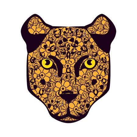 golden cougar head with mandala pattern vector illustration design