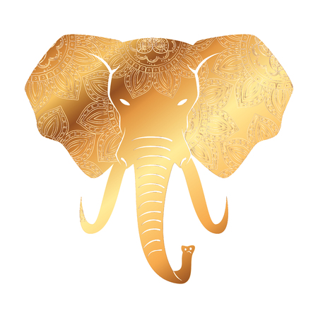 golden elephant with mandala pattern vector illustration design