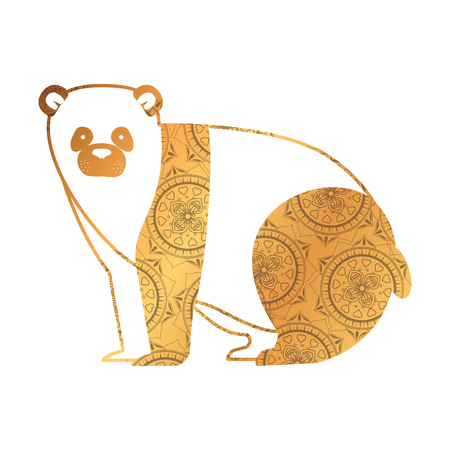 golden bear panda with mandala pattern vector illustration design Ilustração