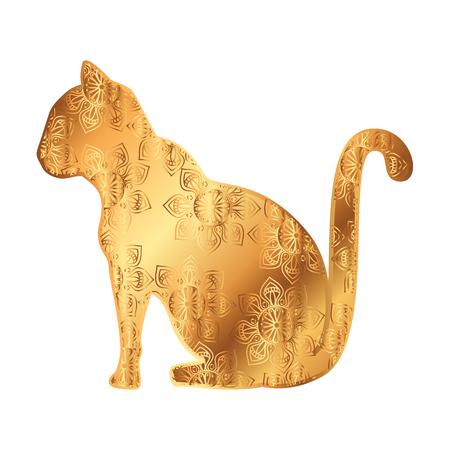golden cat with mandala pattern vector illustration design