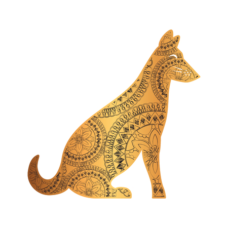 golden dog with mandala pattern vector illustration design Ilustração