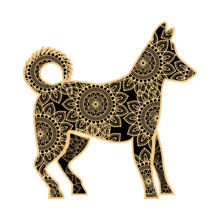 golden dog with mandala pattern vector illustration design Imagens