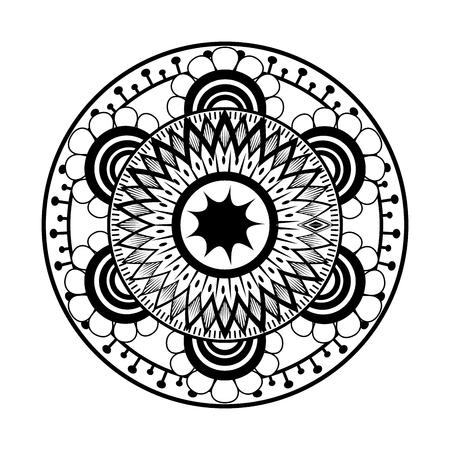 Monochrome and circular mandala vector illustration design. Illustration