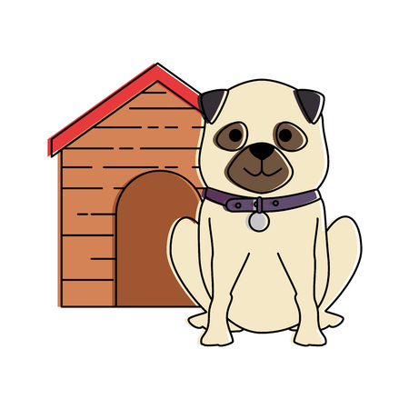 cute dog breed with wooden house character vector illustration design Stock Illustratie
