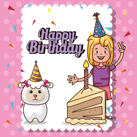 happy birthday card with little girl vector illustration design