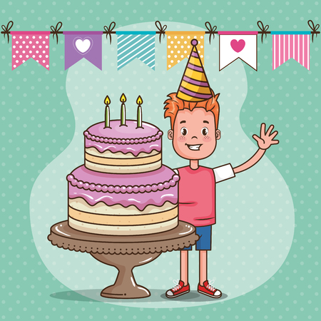 happy birthday card with little boy vector illustration design