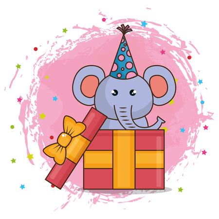 happy birthday card with cute elephant vector illustration design Stock Photo