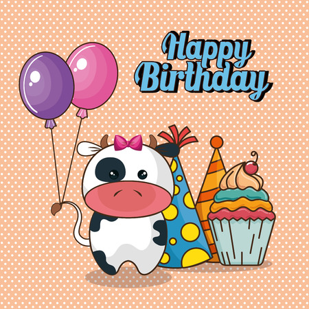 Happy birthday card with cute cow vector illustration design