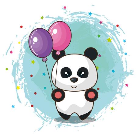 Happy Birthday Card With Bear Panda Vector Illustration Design