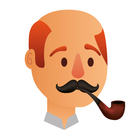 man bald smoking pipe comic character vector illustration design