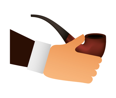 hand with wooden pipe smoke icon vector illustration design Stockfoto - 99612817