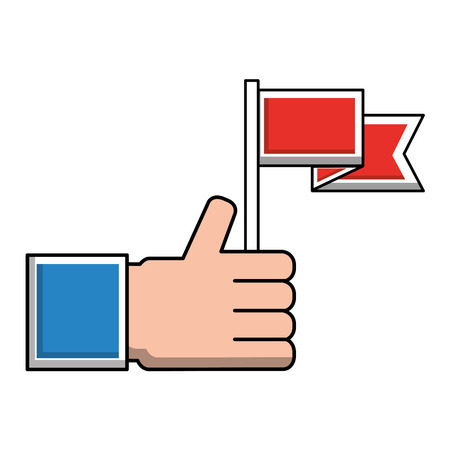 hand with flag marker isolated icon vector illustration design 일러스트