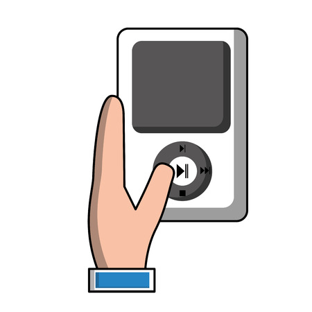 hand with mp3 player device vector illustration design