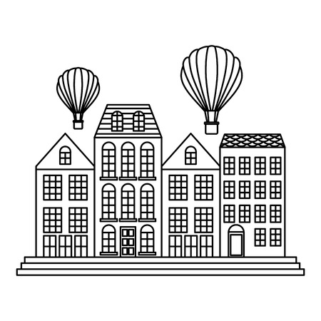 Old buildings with balloons air cityscape scene vector illustration design