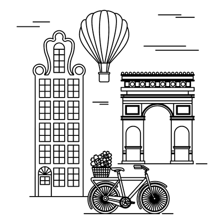 Old buildings with bicycle and triumph arch cityscape scene vector illustration design Illustration