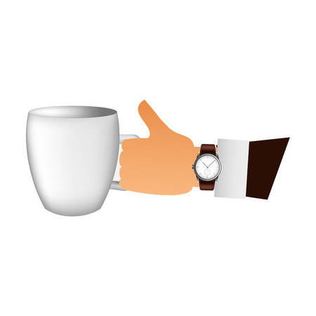 hand with coffee cup drink vector illustration design