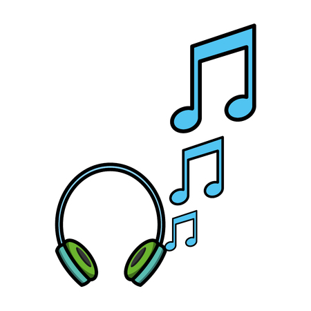 headphones with music notes vector illustration design Ilustração