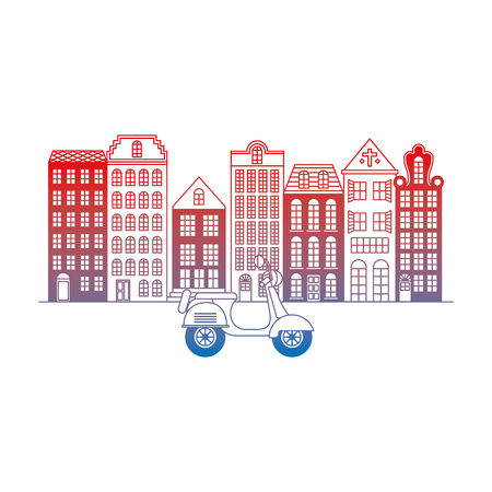 old buildings with motorcycle cityscape scene vector illustration design