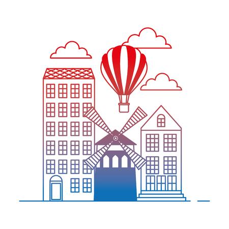 old buildings with windmill cityscape scene vector illustration design Ilustrace
