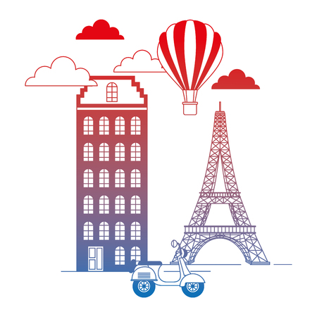 paris city with eiffel tower and scooter scene vector illustration design Ilustração