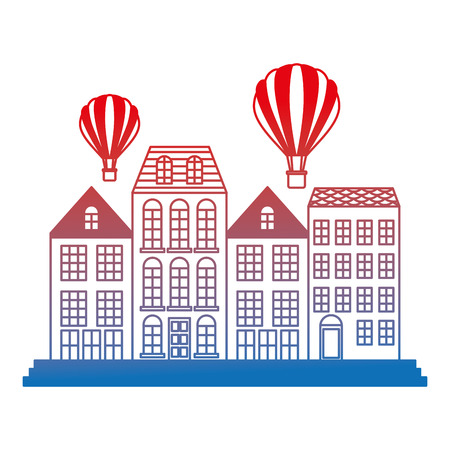 old buildings with balloons air cityscape scene vector illustration design Illustration
