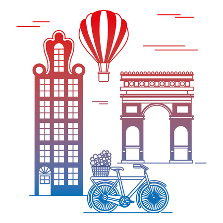 old buildings with bicycle and triumph arch cityscape scene vector illustration design