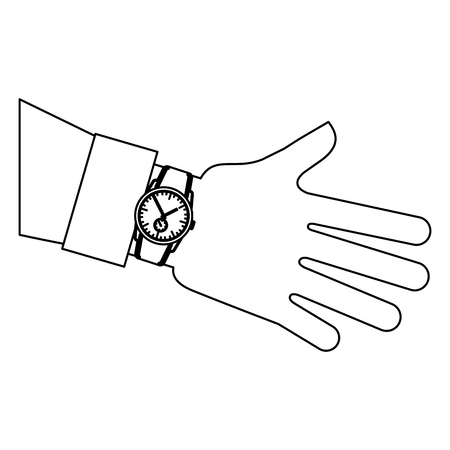 hand with wristwatch masculine isolated icon vector illustration design Illustration
