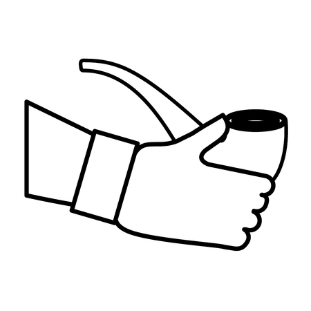 hand with wooden pipe smoke icon vector illustration design