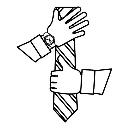hands putting elegant tie icon vector illustration design