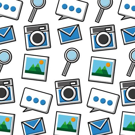 social media marketing pattern background vector illustration design Иллюстрация