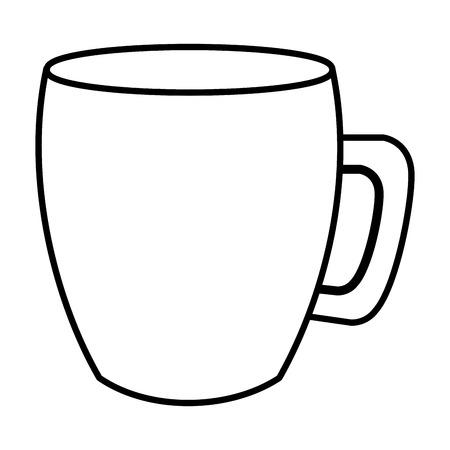 コーヒーマグカップハンドルセラミックアイコン画像ベクトルイラストアウトライン
