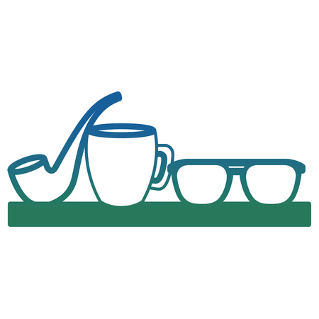 fathers decoration glasses coffee cup and smoking pipe vector illustration degraded color