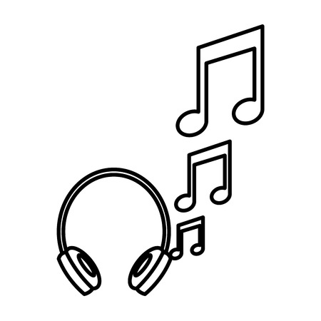 headphones music notes audio image vector illustration outline