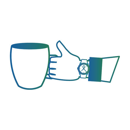 hand holding coffee cup and wrist watch vector illustration degraded color Illustration