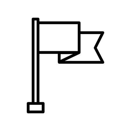 flag in stand winner success image vector illustration outline