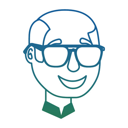 bald man character face with sunglasses vector illustration degraded color Illustration