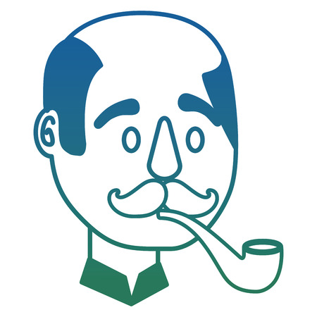 bald man character face with mustache and smoking pipe vector illustration degraded color