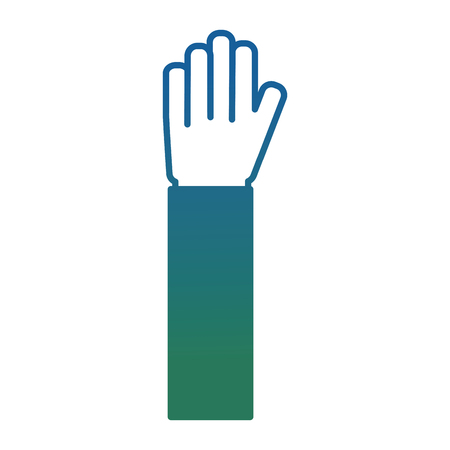 human hand raised open palm gesture vector illustration degraded color