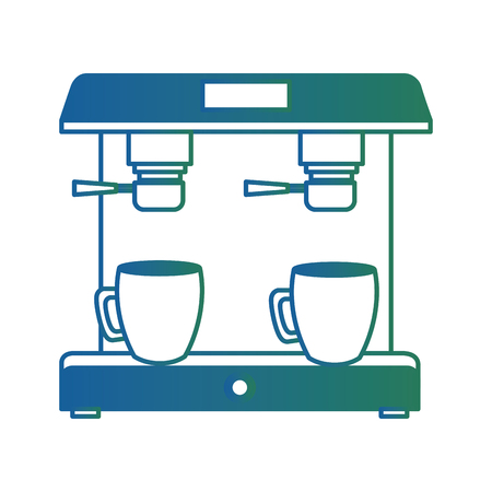 machine coffee maker cups filter vector illustration degraded color